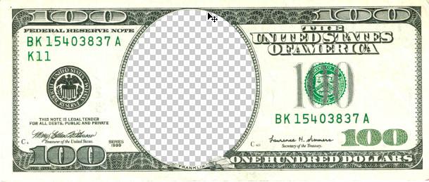 Как вставить лицо в доллар